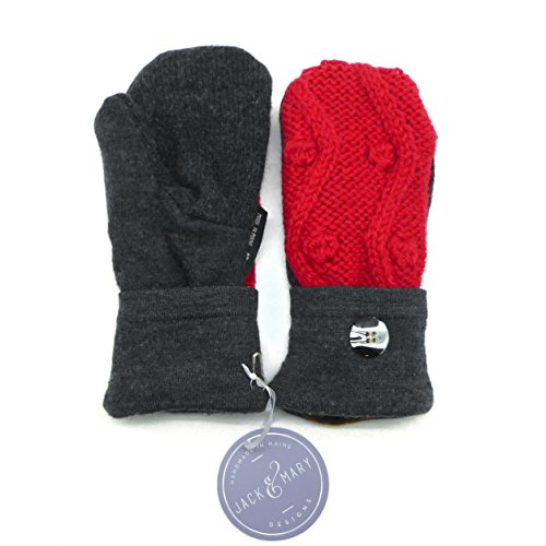 Jack & Mary Designs Handmade Womens Fleece-Lined Wool Mittens (Gray/Red Small, Small)