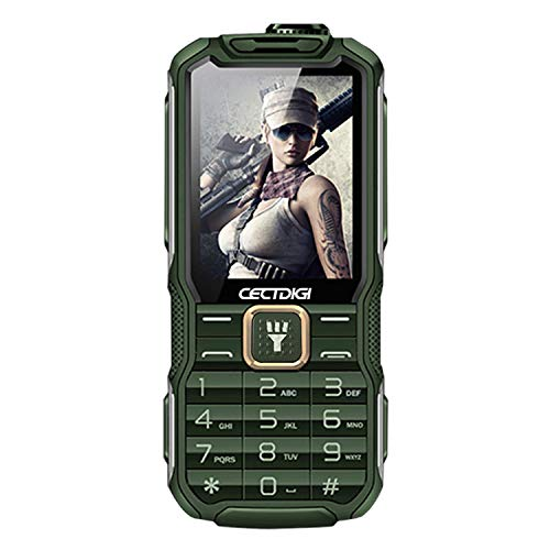 Cectdigi T9900 Rugged Mobile Phone 2G GSM,Shockproof Military-Designed Phone with Power Bank Charging Function,15800mAh,2.8inch Display,Dual SIM Cards,Flashlight Equipped,Voice Broadcast (Green) (Rugged Phone Mobile)