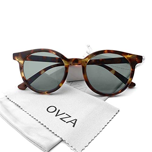 OVZA Vintage Retro Round Sunglasses for Women Plastic Frame (Amber) -