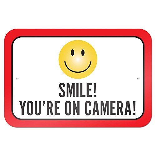 Smile You're On Camera 9 x 6 Aluminum Sign Metal Signs Vintage Road Signs Tin Plates Signs Decorative Plaque bienternary