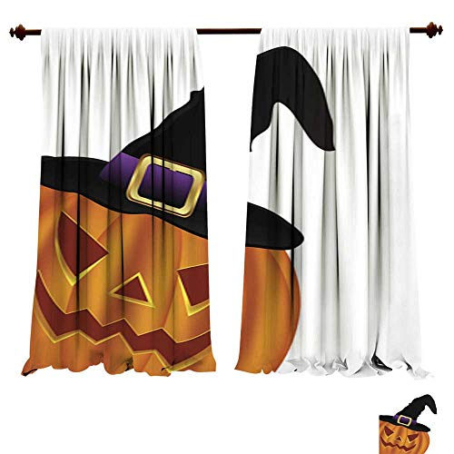 (Curtains for Bedroom Wicked Pumpkin for Halloween in a Witches hat Window Drapes for Kitchen)