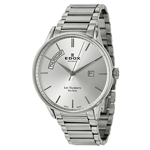 - Edox Men's 83011 3B AIN Les Vauberts Automatic Silver Dial Two Tone Steel Watch