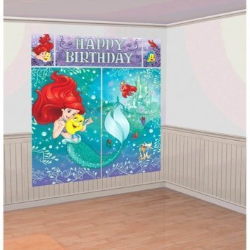 Amscan Enchanting Disney Ariel Dream Big Birthday Party Scene Setters Wall Decorating Kit (5 Piece), Multicolor, 59