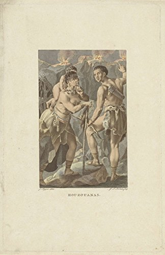 Classic Art Poster - Residents of South Africa (Houzouana), Ludwig Gottlieb Portman, 1806 9 x 13
