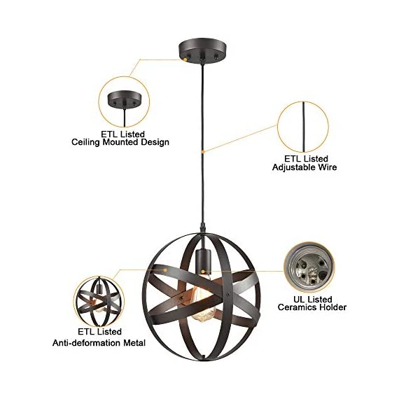 Truelite Industrial Metal Spherical Pendant Displays Changeable Hanging Lighting Fixture - Vintage sytle metal globe pendant lighting;shade dimension: 11.81'' in diameter,11.81'' in height, 47.24'' in cord Its open-air design showcases the illumination from the bulb, adding its trendy appeal ETL listed;E26 based(bulb not included); Fully dimmable when used with a dimmer bulb and compatible dimmer switch(not included) - kitchen-dining-room-decor, kitchen-dining-room, chandeliers-lighting - 41fPdJROWQL. SS570  -
