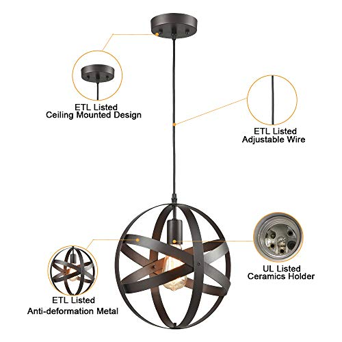 Truelite Industrial Metal Spherical Pendant Displays Changeable Hanging Lighting Fixture by AXILAND (Image #5)