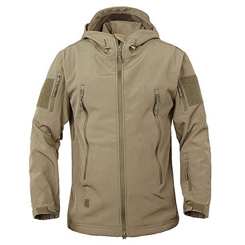 TACVASEN Men's Military Softshell Tactical Jacket Hooded Fleece Coat Khaki ()