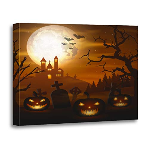 Emvency Painting Canvas Print Wooden Frame Artwork Autumn Halloween Pumpkins and Scary Church on Graveyard Bats Decorative 20x30 Inches Wall Art for Home Decor