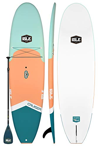 ISLE Cruiser Soft Top Stand Up Paddle Board 4.5 Thick SUP Package Includes Adjustable Paddle, Center Carry Handle, Center Fin, Non Slip Deck