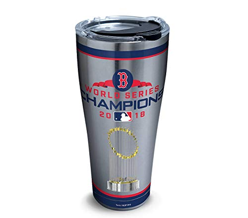 Tervis 1316126 MLB Boston Red Sox 2018 World Series Champions Insulated Tumbler with Clear and Black Hammer Lid, 30oz Stainless Steel, ()