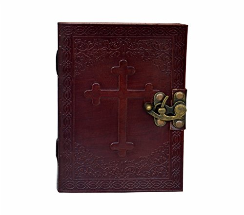 New genuine Leather Christian Antique look Catholic Journal Dairy Note Book travel With Unlined paper Leather Embossed Celtic Cross Journal Personal Leather Writing Notebook Diary ( 7 x5 Inch )