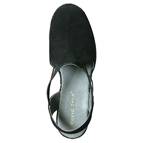 David Tate Womens Nelly Flats Black Nubuck, Size-12M