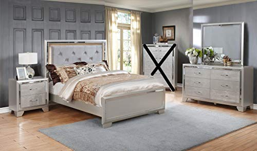 (GTU Furniture Contemporary Silver Style Wooden 4Pc Queen Bedroom Set(Q/D/M/N))