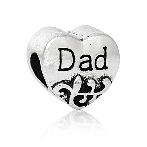 Choose a Family Heart Bead Charm Best Friend,dad,daughter,family,grandma,mom,sis,wife & Someone Special for Snake Chain Bracelets (Grandma Charm Special Heart)