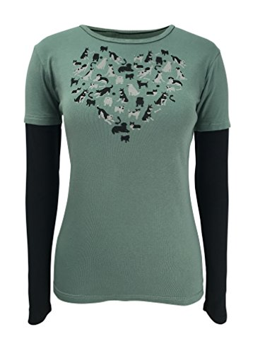 Green 3 I Love Dogs Long Sleeve 2 in 1 Tee (Sage Green) - 100% Organic Cotton Womens T Shirt, Made in The USA