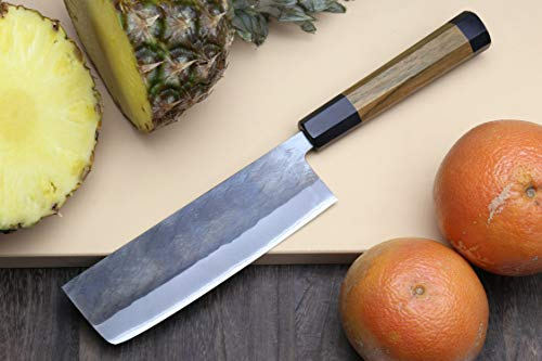 Yoshihiro Kurouchi Black-Forged Blue Steel Stainless Clad Nakiri Japanese Vegetable Knife (6.5'' (165mm) & Saya) by Yoshihiro (Image #2)