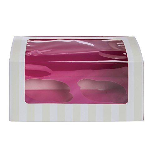 Packnwood Pink/White Striped Double Cupcake Box with Insert - 6 13/16