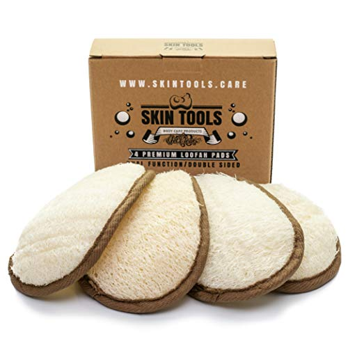 SkinTools Eco Friendly 4 Pack Premium Loofah Pads, Shower and Bath Sponge, All Natural Exfoliating Luffa, Perfect for Men and Women, Helps to Remove Deodorant, Sunblock and Exfoliate Feet