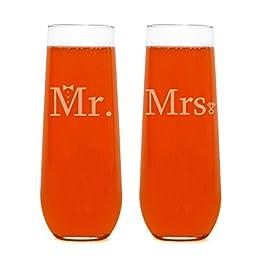 Couples Wedding Champagne Flutes (Mr. & Mrs. Stemless Flute)