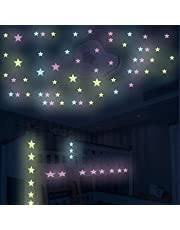 100 قطعة من ملصقات الحائط الفلورسنت متعددة الألوان القابلة للإزالة من جاجافيل ونجوم مزخرفة متوهجة في الظلام لغرفة المعيشة وغرفة النوم