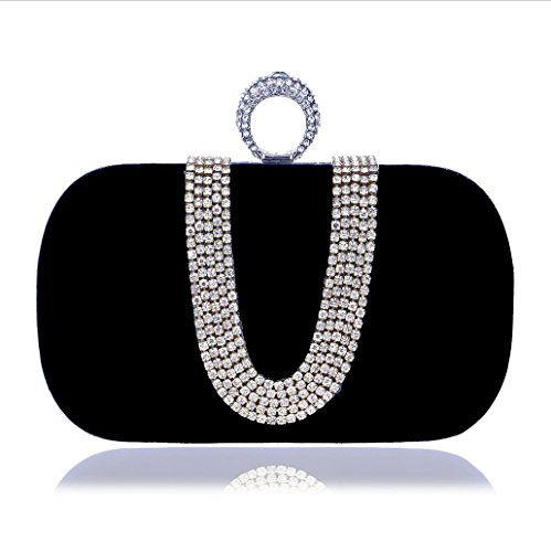 Shoulder Purse Black Metal Clutch type Polyester Women KYS Evening Fashion Bag U Diamonds Rhinestones Bags Mini Evening Chain Evening Women Wedding Bags U1ATv7U