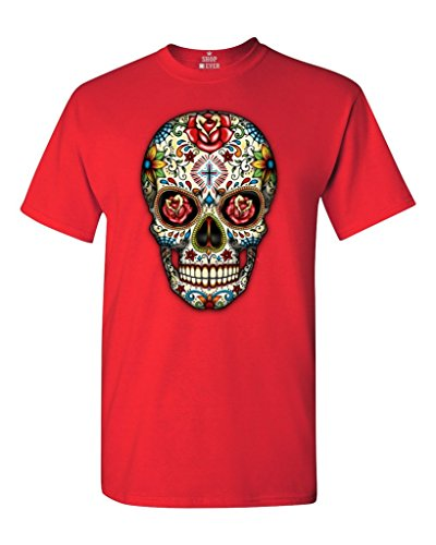 Sugar Skull Roses T-shirt Day of Dead Shirts #16553 Small Red for $<!--$9.91-->