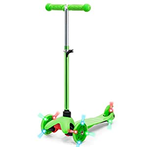 Best Choice Products Kids Mini Kick Scooter w/ Light-Up Wheels and Height Adjustable T-Bar - Green