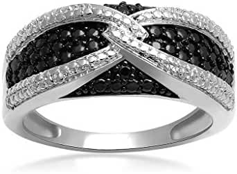 Jewelili Sterling Silver Black And White Diamond Accent Ring, Size 7