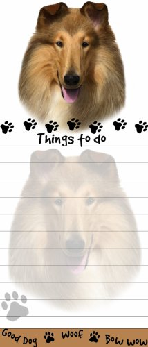 """Collie Magnetic List Pads"" Uniquely Shaped Sticky Notepad Measures 8.5 by 3.5 Inches"