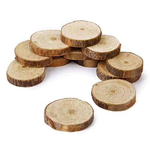 Craft Decor Natural Tree Wood Slices Bulk 100 Pcs Small 1.5-3CM Unfinished Rusticsliced Dark slabs Rounds Trunk Faux Reclaimed