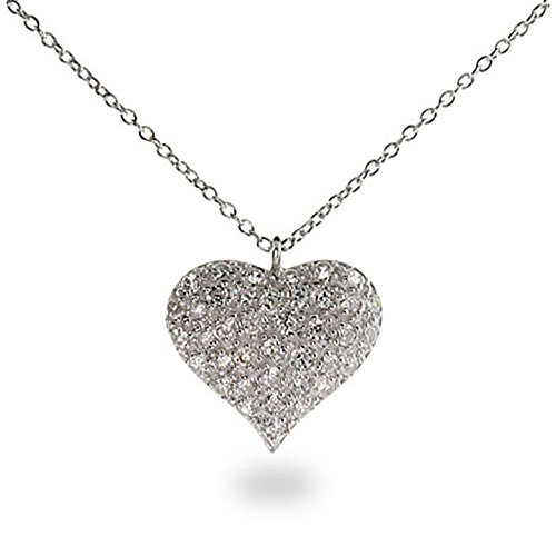 Sterling Silver CZ Heart Necklace Puffed Heart Pendant, (Sterling Silver Puffed Box)