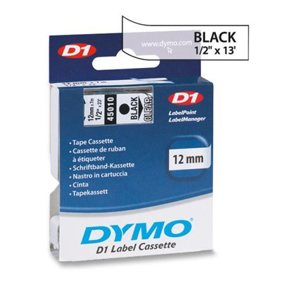 D1 Tape Cartridge (DYMO® D1 Standard Tape Cartridge for Dymo Label Makers, 1/2in x 23ft, Black on Clear)