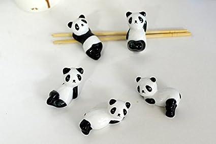 Style A Keramik 5.5 * 2.5 * 2CM Fablcrew 5 St/ück Panda-Form aus Keramik f/ür chinesische Drumsticks L/öffelablage Gabel Halterung