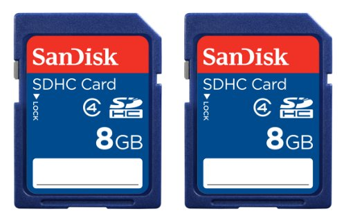 SanDisk 8GB Class 4 SDHC Memory Card, 2 Pack, Frustration-Free Packaging- SDSDB2-008G-AFFP (Label May Change)