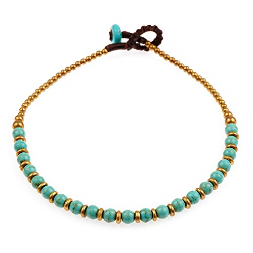 Chuvora Wax Cord and Brass Beaded Genuine Blue Turquoise Semi-Precious Gemstone Anklet