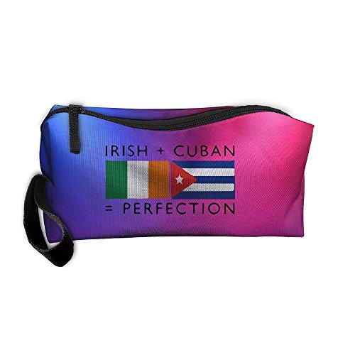 Irish Cuban Heritage Flags Multi-functional Cosmetic Makeup Bag Zipper Closure Bags Toiletries Organizer Bag by Metry