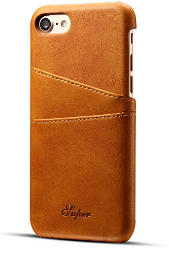 iPhone 8/7 Wallet Phone Case, XRPow Slim PU Leather Back Protective Case Cover With Credit Card Holder for Apple iPhone 8 Light Brown (Best Leather Iphone 7 Case)
