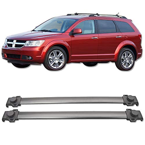 Cross Bars Fits 2009-2017 DODGE JOURNEY | OEM Style Aluminum Roof Top Bar Luggage Carrier by IKON MOTORSPORTS | 2010 2011 2012 2013 2014 2015 2016
