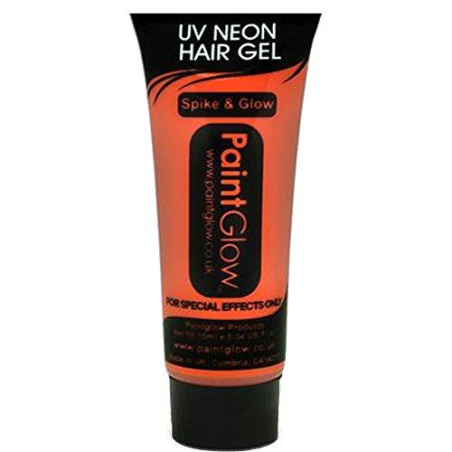 PaintGlow, Neon UV Hair Gel, Orange, 10ml -