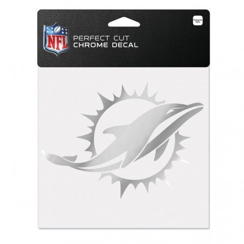 Wincraft NFL Miami Dolphins Chrome Perfect Cut Decal, 6 x 6, Black