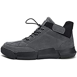 For What Reason Men Leather Winter Ankle Boots Walking WarmCasual Winter Fashion Fur Flock Winter,Gray no Fur,10