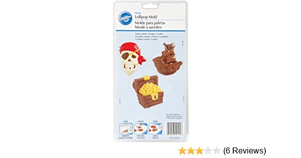 Amazon.com: Wilton 2115-2111 Pirate Lollipop Mold, Large, 3 Designs: Kitchen & Dining