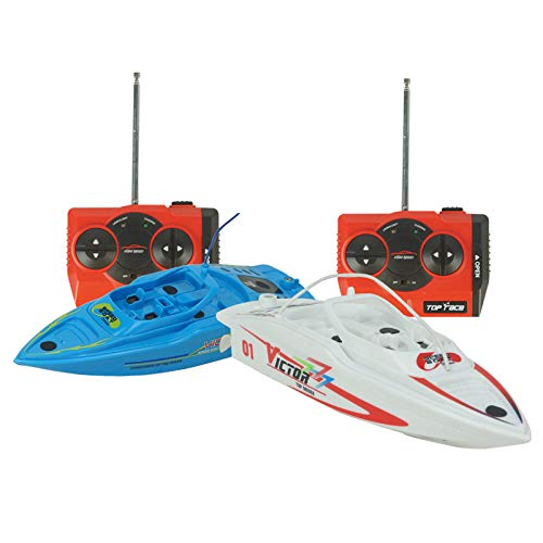 (Set of 2 Kids 27/40MHz RC Racing Boats Toys w/Remote Controls, Rechargeable Batteries - White and Blue with/Inflatable Pool)