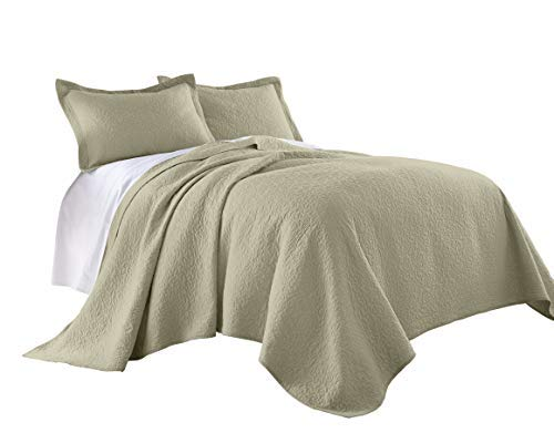 Chezmoi Collection Rebecca 3 Pieces Traditional 100%-cotton Pre-Washed Soft-Finished Quilt Set (Queen, Khaki)