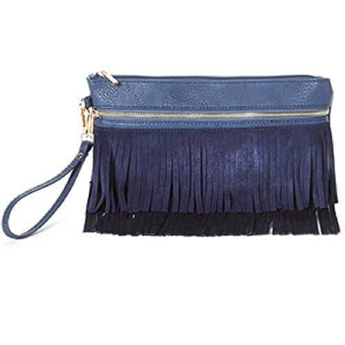 Imoshion Suede Fringe Black & Blue Boheme Wristlet Purse