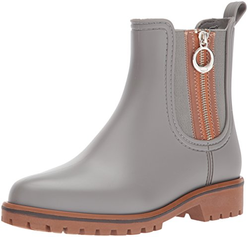 Bernardo Women's Zip Rain Boot, Grey Rubber, 9M M US