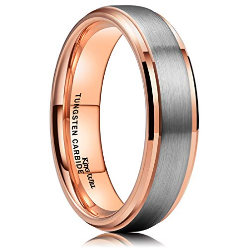 King Will Duo Unisex 6mm 18k Rose Gold Plated Tungsten Carbide Ring Two Tone Wedding Band 7.5 from King Will