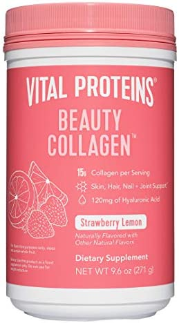 Vital Proteins Beauty Collagen Peptides Powder Supplement for Women, 120mg of Hyaluronic Acid, 15g of Collagen Per Serving, Enhances Skin Elasticity and Hydration, Strawberry Lemon, 9.6oz Canister