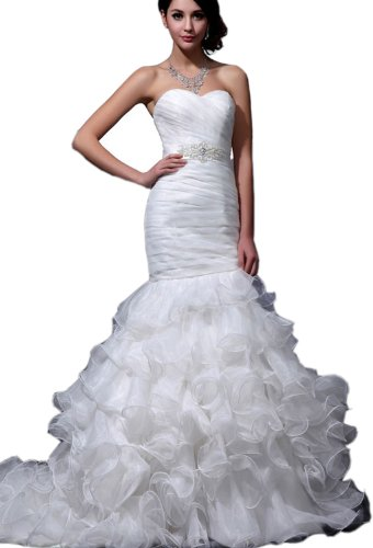 Albizia Women's Sweetheart Mermaid Organza Wedding Dresses by ALBIZIA