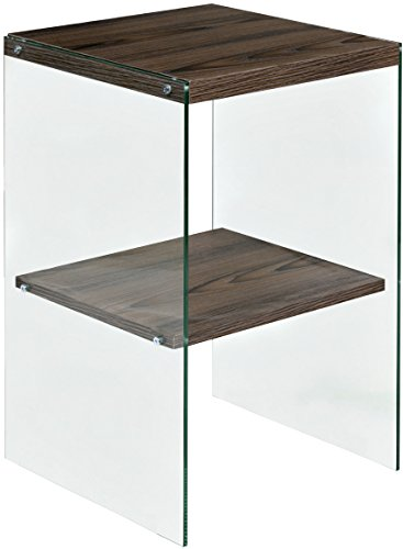 OneSpace 50-JN19ETWN Escher Skye Accent End Table, Glass and Wood ()